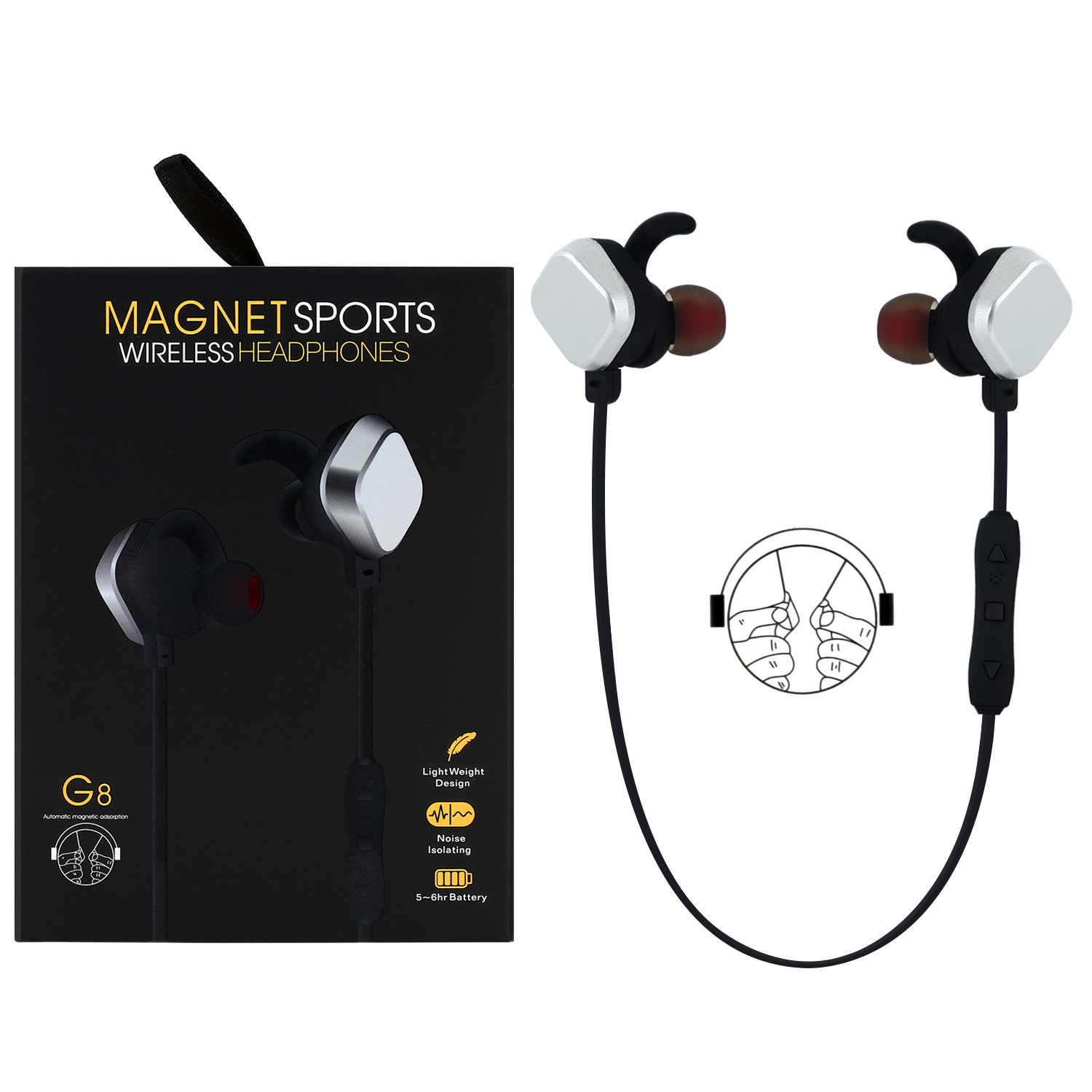 G8 Wireless sports bluetooth headphone stereo bluetooth headset magnet earphone for phone