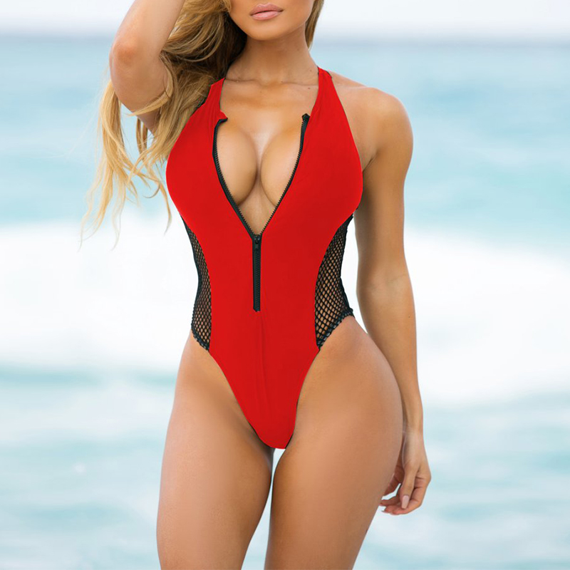 Summer Beachwear Swimsuit 2019 New Mesh One Piece Swimwear Women Bathing Suits Red Bandage Swimming Suit maillot de bain