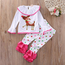 Pudcoco Toddler Baby Girls Christmas Deer T-shirt Top + Pants Leggings Pajamas 2Pcs/Set