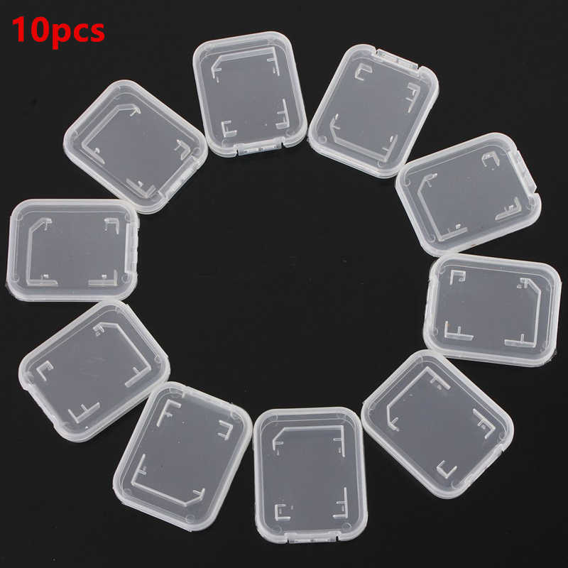 10pcs Memory Card Case Transparent Standard Mini Case Protector Holder White Box Carry Storage Wholesale Case 48 x 4 x 6mm
