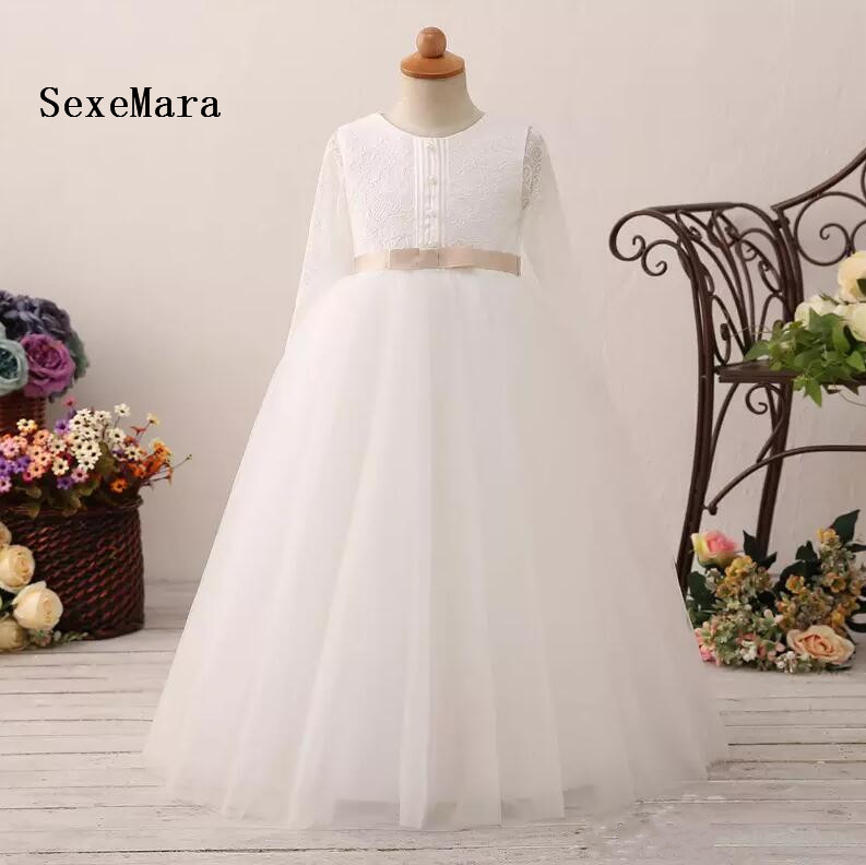Real Picture Ivory Flower Girl Dress Wedding Round Neck Long Sleeve Lace Pearl First Communion Dress Girls Birthday Dress shein eyelet crochet lace detail frill trim dress 2018 summer round neck butterfly sleeve dress women pink elegant ruffle dress