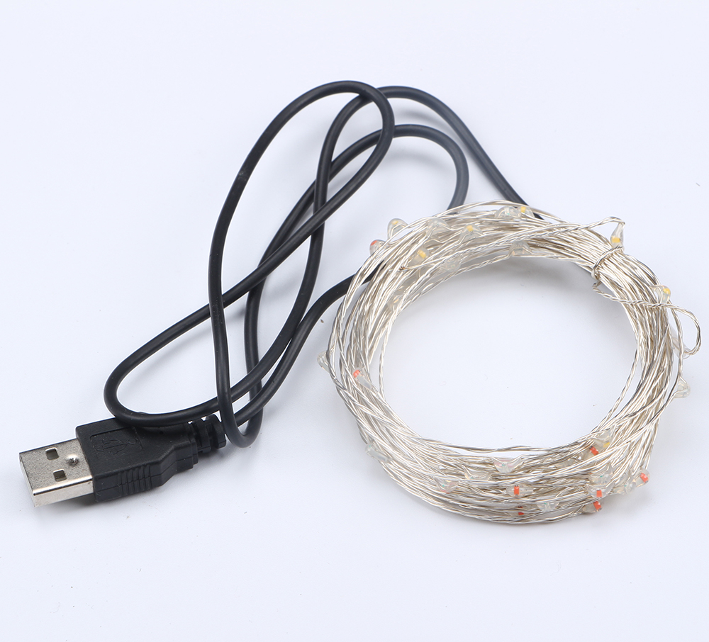 50 100 Led Copper Wire Fairy String Light Christmas Usb 5m 10m Led Silvery Wire Fairy Light Garland For Wedding Birthday Decor