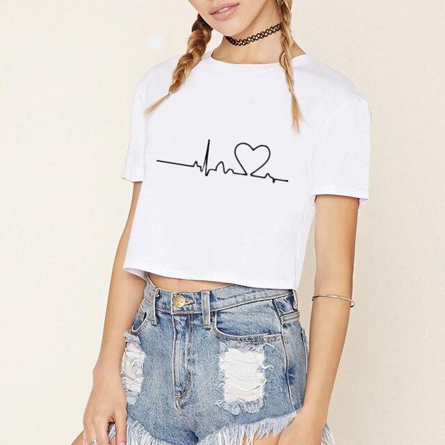5925020f5060 Heartbeat Love STRANGER THIN kiss me Printed Women T-shirts Casual Summer  Short Sleeve t shirt women Tops Plus Size