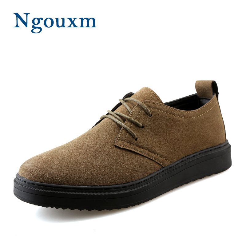 Ngouxm Brand New 2017 Retro Style Platform Sneakers Men Suede Leather Shoes Brown Lace up Flats Men's Casual Shoes