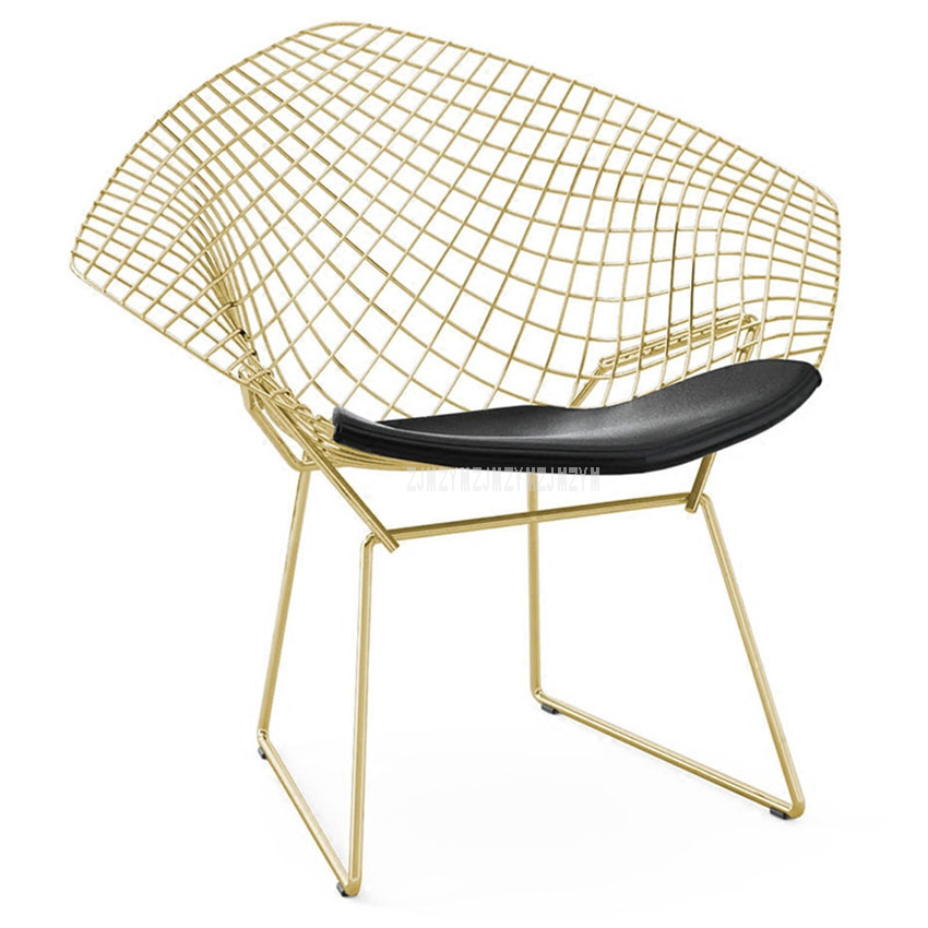 Creative Modern Design Decorative Wire Chair Metal Iron Gold Chromed Padded Leisure Dining Chair With Leather Soft Seat Cushion 100% metal steel leisure chair iron wire chair hollow back gold dining chair metal living room furniture complimentary cushion