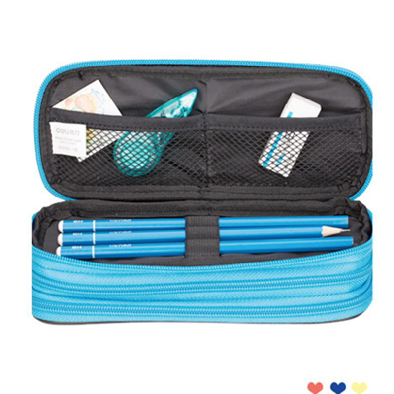 Zipper Pencil Case For Boys Girls Large Capacity Canvas Red Blue 215x90x60mm Office Supplies