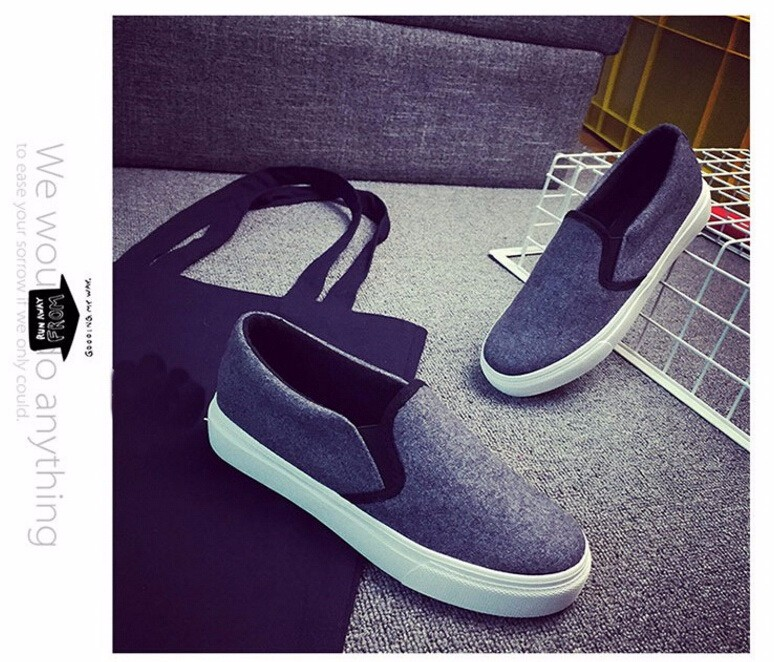Free Shipping Spring and Autumn Men Canvas Shoes High Quality Fashion Casual Shoes Low Top Brand Single Shoes Thick Sole 7583 - - (2)