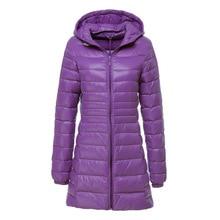 OLGITUM  High Quality  Winter Warm Coat Ladies Long  Women Ultra Light With Bag Women Jackets Down Jacket  Tops  LJ872Y