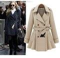Mujeres abrigos de Moda de doble botonadura abrigo de invierno temperamento Delgado solapa de la chaqueta rompevientos cinturón de ropa de mujer