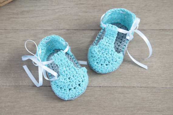 Gehäkelte Babyschuhe Blau Mädchen Schuhe Sommer Häkeln Baby