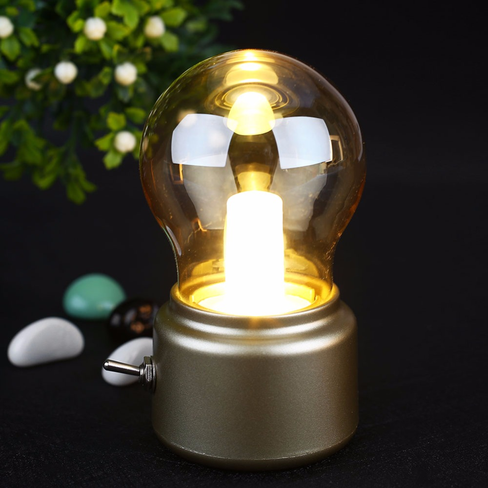 Retro Metal Bulb Shaped Night Light USB Charging LED Bed Decoration Bedside Lamp