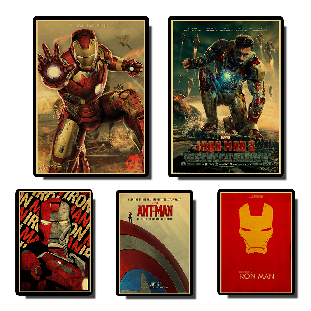 Buy  Iron Man Marvel Comics Poster High Quality Print Painting Poster Vintage Kraft Paper Home Bar Decor