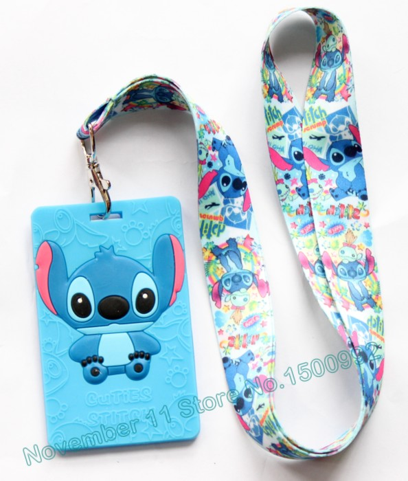 New 1Pcs Cartoon Stitch Lanyard ID Badge Holder Key Neck Strap Kids Gifts QW-426