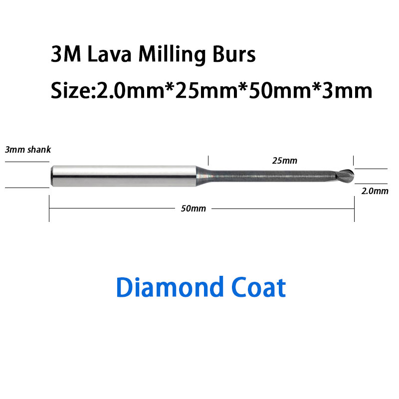 High Quality 25mm Reach Length 2.0mm Ball Diameter ESPE Lava 500 Milling Machine Tools Burs to Mill Zirconia, Wax, PMMA 1pc zirkon zahn system dental milling burs and stylus 1l 2l 4l to be chosen