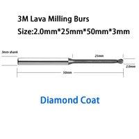 High Quality 25mm Reach Length 2 0mm Ball Diameter ESPE Lava 500 Milling Machine Tools Burs