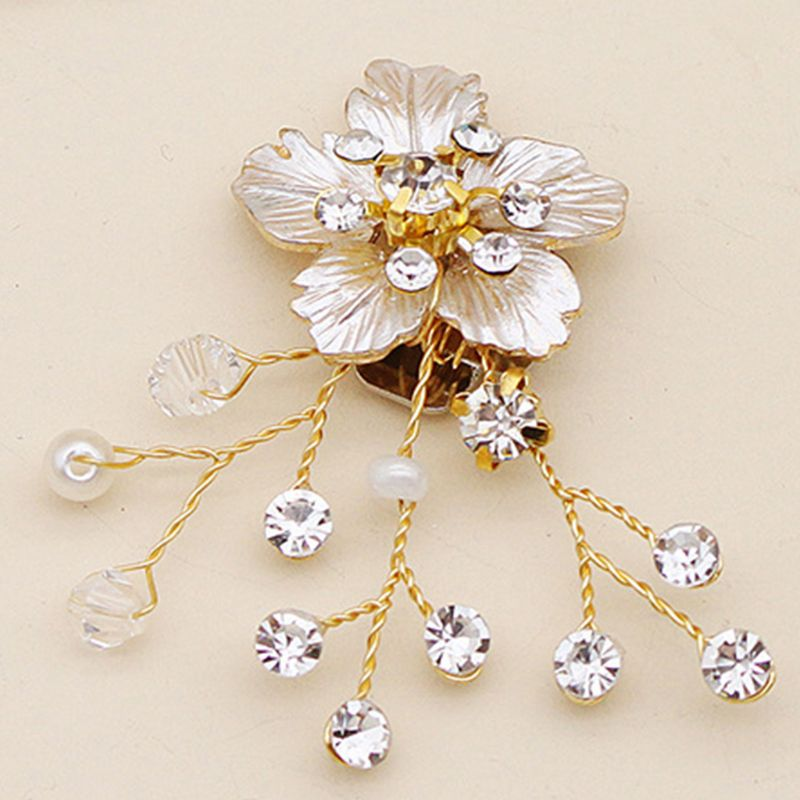 Sandals Charms Accessories Flower Gold Luxury Elegant DIY Shoe Clip Women Lady Shoes Handmade Crystal Pearl Decoration High Heel in Shoe Decorations from Shoes