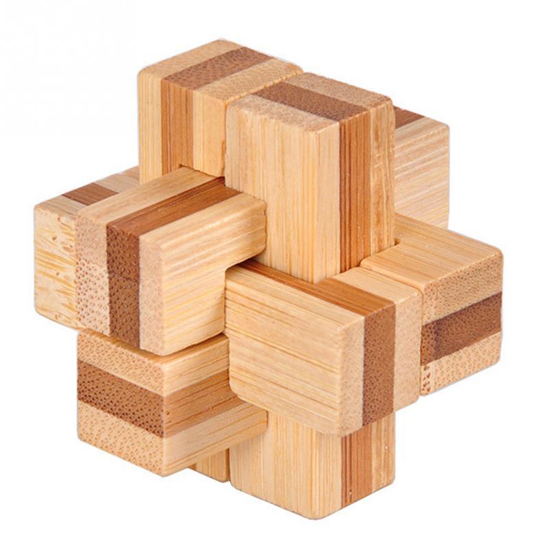 1 шт. бамбуковый развивающий замок 3D игрушка ручной работы для взрослых головоломка игра - Цвет: six way wave