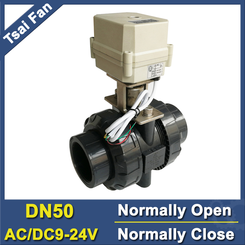 TF50-P2-C AC/DC9V-24V 2 / 5 Wires BSP/NPT 2'' PVC 2 Way DN50 Normally Open/Close Valve 10NM On/Off 15 Sec Metal Gear CE stainless steel 2 electric ball valve dc12v 5 wires dn50 actuator valve 2 way torque 10nm on off 15 sec metal gear