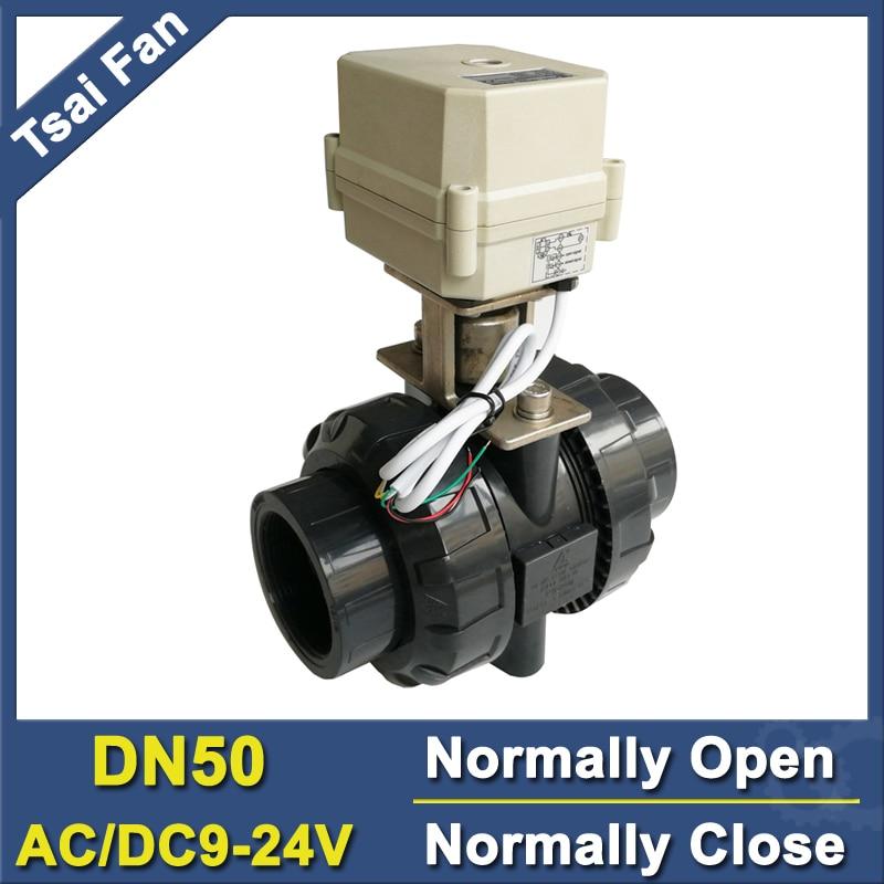 TF50-P2-C AC/DC9V-24V 2 / 5 Wires BSP/NPT 2'' PVC 2 Way DN50 Normally Open/Close Valve 10NM On/Off 15 Sec Metal Gear CE bsp npt 1 pvc dn25 electric shut off valve tf25 p2 c dc12v cr303 wiring 10nm on off 15 sec metal gear for water control