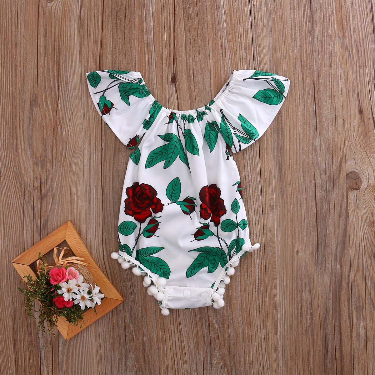New Arrive Cute Summer Kids Newborn Infant Baby Girl Cotton Ruffle Romper Floral Jumpsuit Outfit Sunsuit Clothes