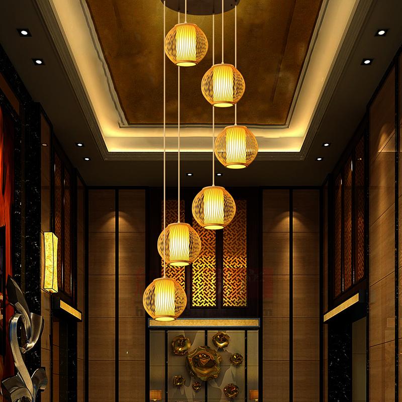 escaleras de bamb doble escalera lmpara colgante espiral largo colgante luces restaurante lmpara giratoria moderna simple