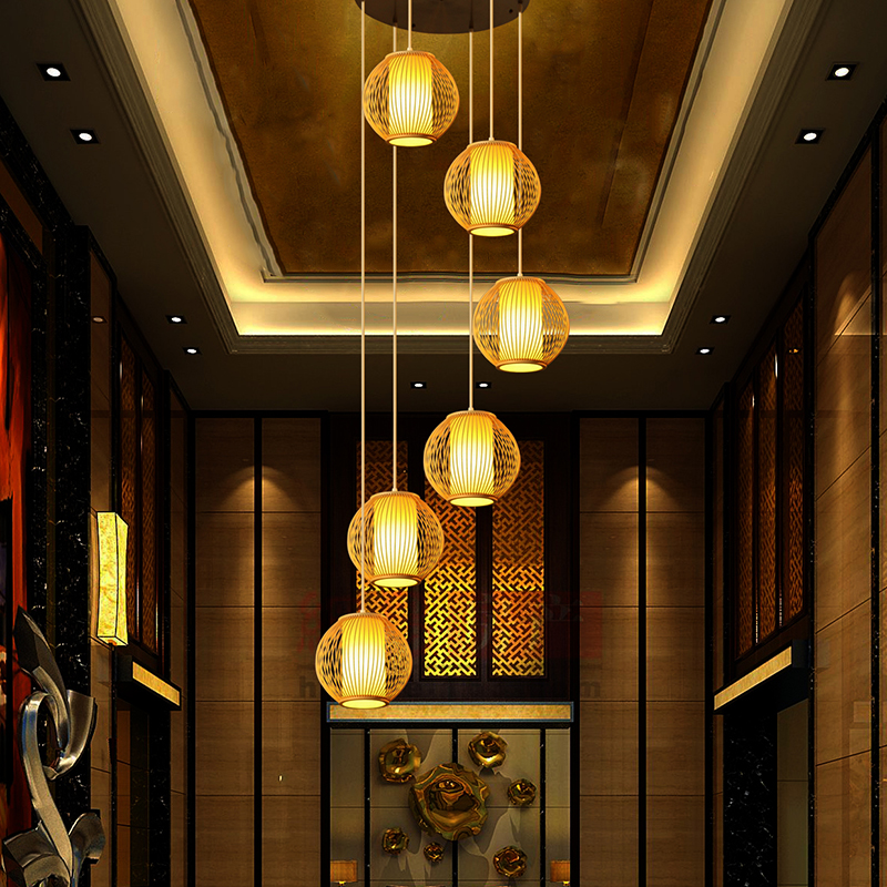 spiral long pendant lights Stairs Bamboo double staircase pendant lamp restaurant lamp rotary modern1/3/6/9 heads lamps ZA