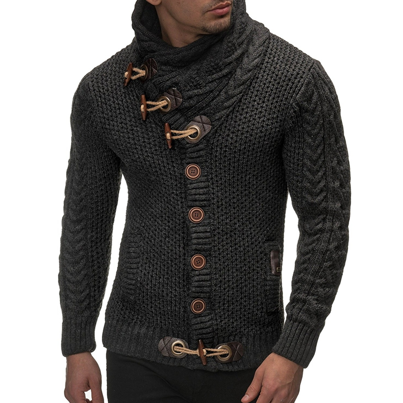 Laamei 2019 Sweater Cardigan Men Brand Casual Slim Fit Male Sweaters Men Horns Buckle Thick Hedging Turtleneck Men'S Sweater New