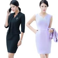 SEYAM Office Lady Summer Blazer Dress Suits Elegant 3 4 Sleeve Blazer And Sleeveless Dress Wear