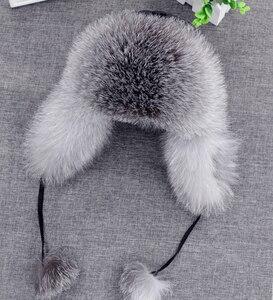 Image 2 - 2020 hình thật 100% Cáo Mũ Lông Thú nữ Nga Ushanka Aviator Bẫy bắt tuyết trượt tuyết Nón mũ lưỡi trai earflap mùa đông gấu trúc lông thú máy bay ném bom nón