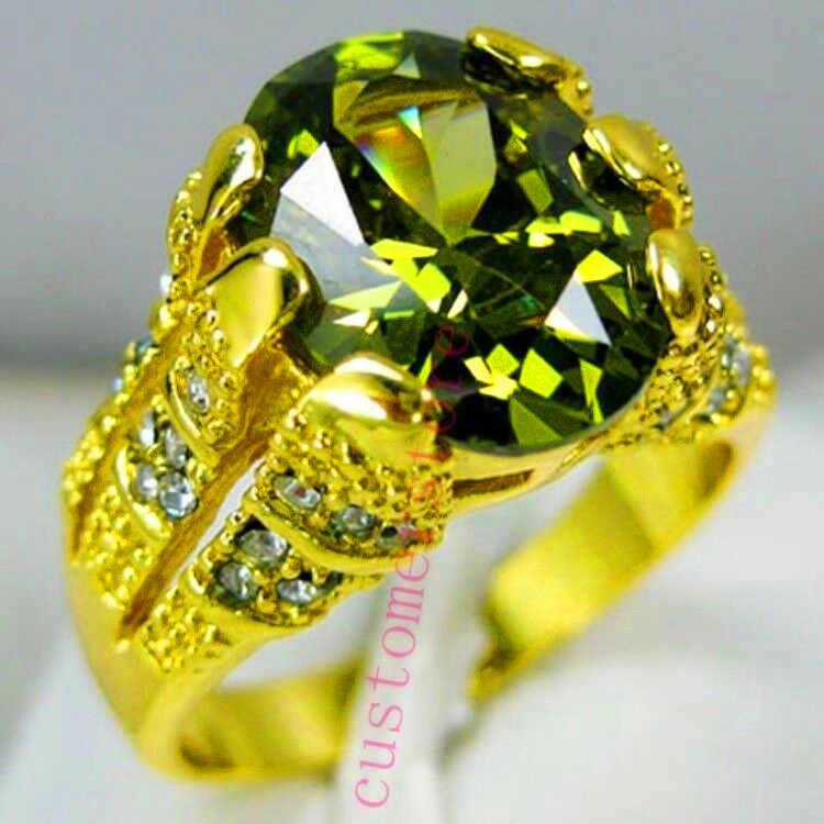Nieuwe Mode Mannelijke Peridot Ovale Vinger Ring Luxe Grote Kristallen Zirkoon Stone Ring 14KT Geel Goud Belofte Engagement Ringen Voor mannen