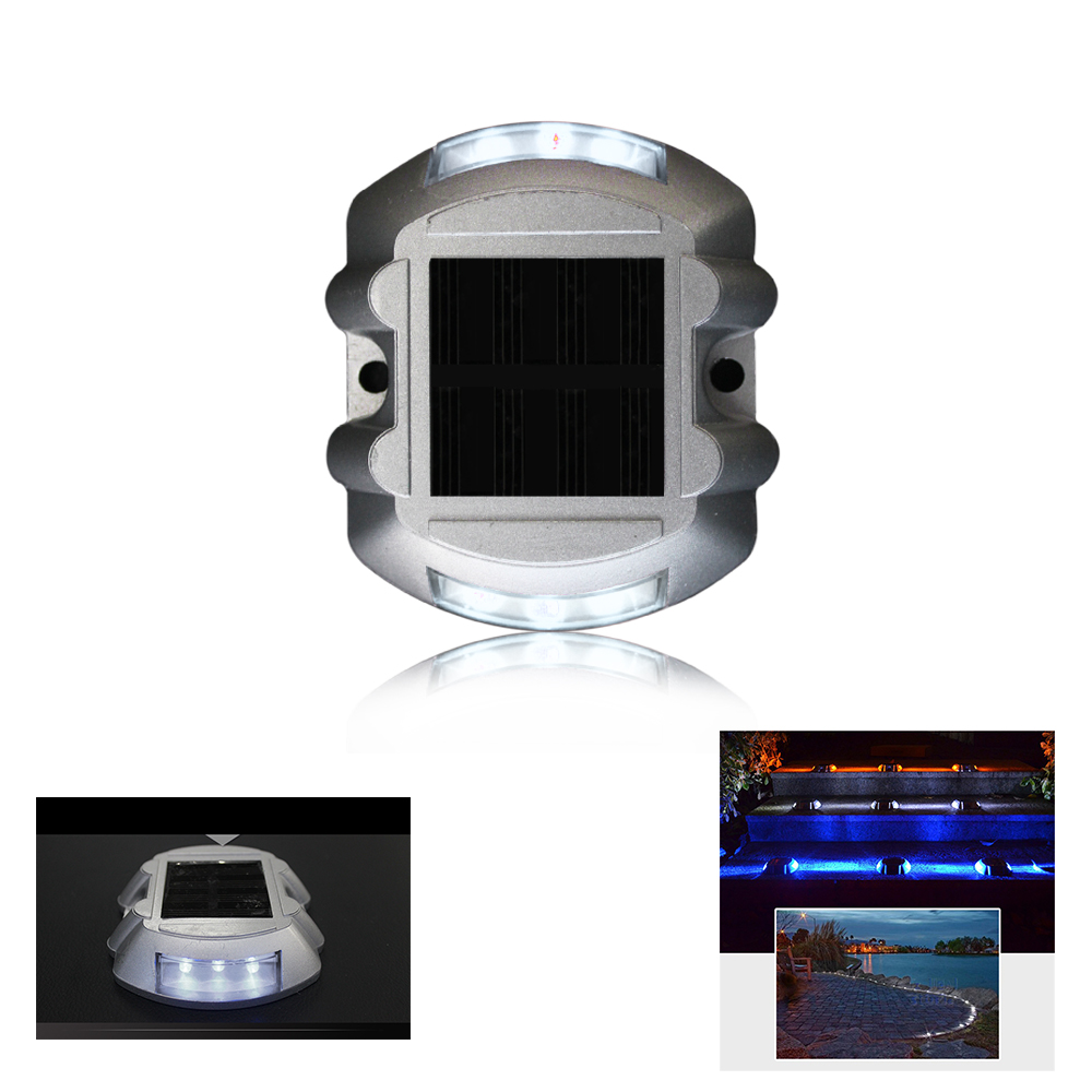 White Solar Powered Maintenance Free Night Sensor Self Luminous Sidewalk Commercial  Area Road Stud Light