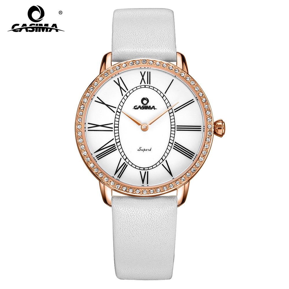 CASIMA Luxury Brand Fashion Casual Bracelet Watches Women with Rhinestone Dial Waterproof Leather Watch Band 2615