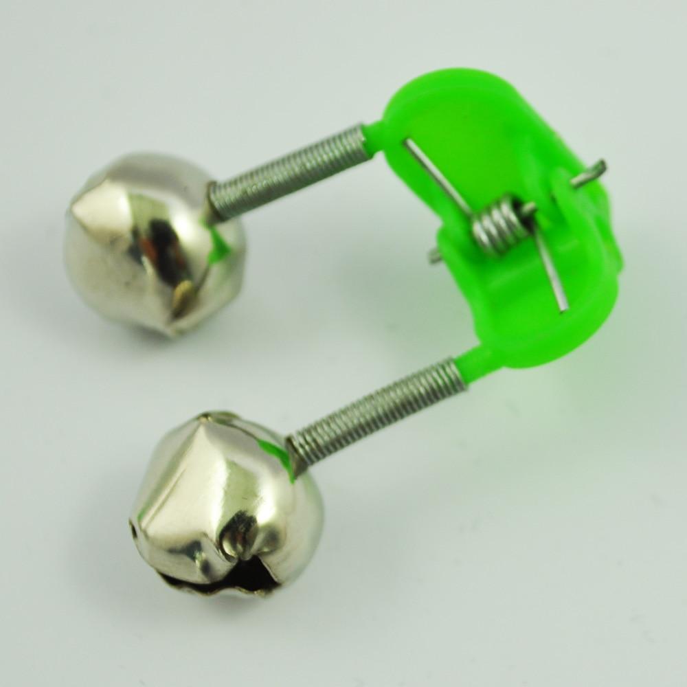 3 Pcs Bite Alarm Fishing Rod Pole Twin Ring Bells w Clip Green|Fishing Rods| |  - title=