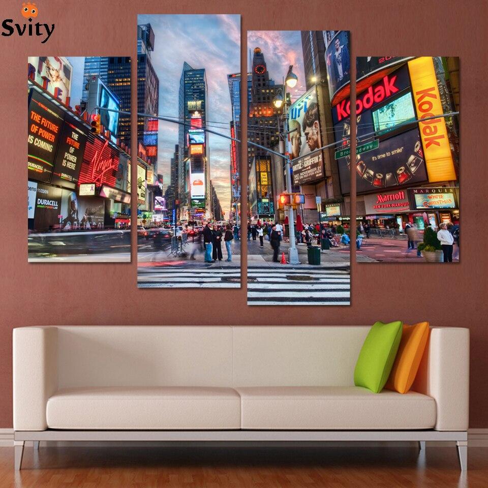 Модные Аннотация Нью Йорк здания картина маслом Цвет город картинки пейзаж холст установлен современный стены Книги по искусству украшени