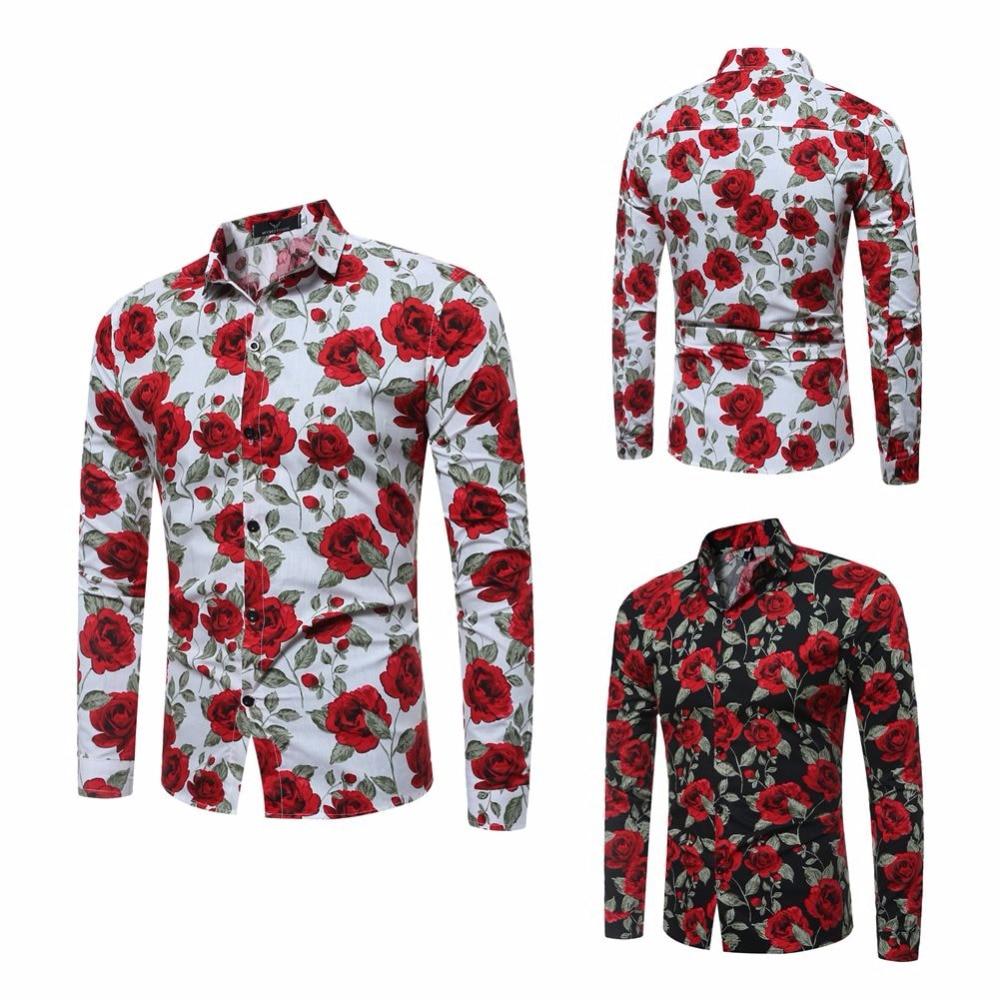 2017 lente herenmode bloem shirt met lange mouwen slim fit comfort - Herenkleding - Foto 3