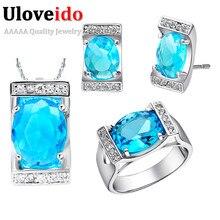 40% de descuento al por mayor fashion square collar pendientes anillo azul cristalino de la joyería nupcial conjuntos conjuntos de regalo bijoux uloveido t094