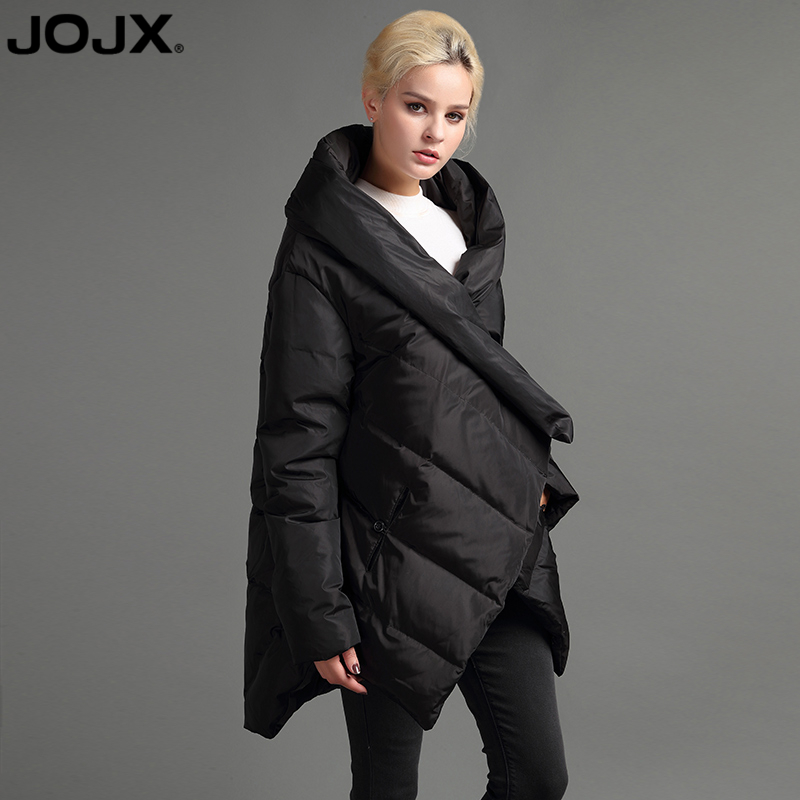 JOJX 2018 New Design cloak Winter Asymmetric Jacket women luxury Coat Winter Down Warm Parka High