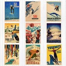 Retro esquí en los Alpes Suiza lienzo pintura esquí pared vintage Kraft carteles recubiertos pegatinas de pared cuadros de decoración del hogar