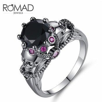 Anillo de calavera de Color oro negro circonita colorida Punk para mujeres anillos anel fiesta joyería promesa cristal Día de San Valentín regalo z25