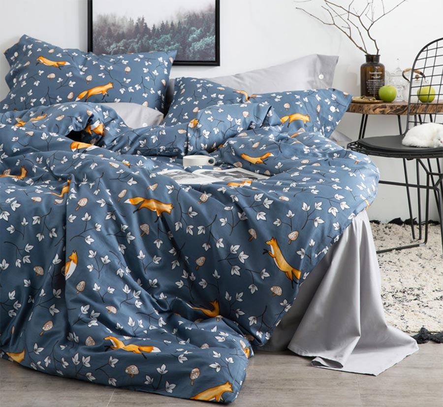 Blue grey orange fox leaf bedding set adult teen,cotton full queen king double home textiles bed sheet pillow cases quilt cover