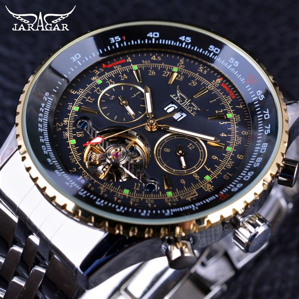 Jaragar 2017 Fliegen Serie Goldene Lünette Skalenscheibe Design Edelstahl Herrenuhr Top-marke Luxus Automatische Mechanische Uhr