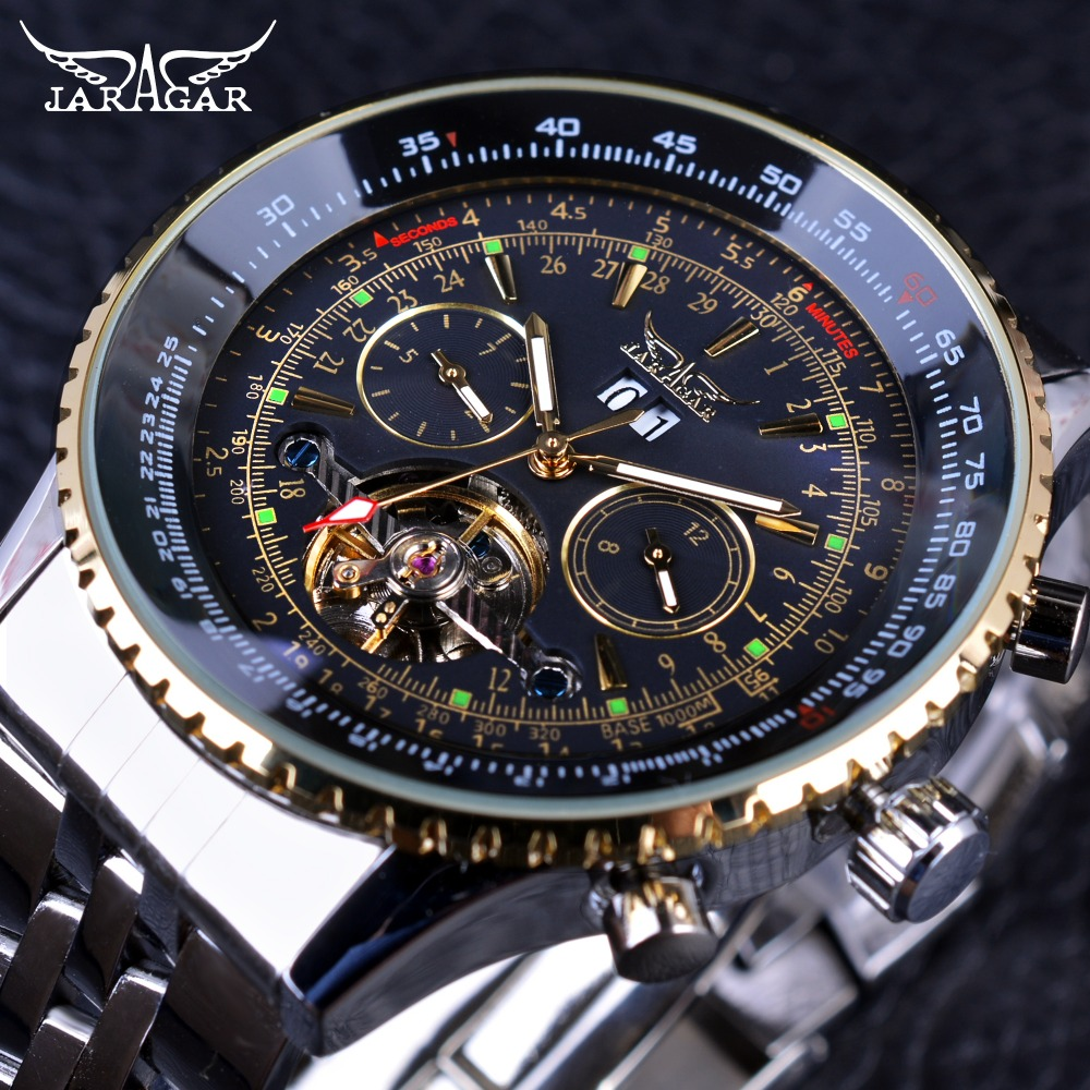 Jaragar 2017 Flying Series Golden Bezel Scale Dial Design Ruostumaton teräs Miesten Watch Top Brand Luxury automaattinen mekaaninen katsella