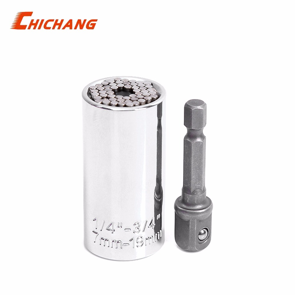 Universal Torque Wrench Head Set Socket Sleeve 7-19mm Power Drill Ratchet Bushing Spanner Key Magic Grip Multi Hand Tools 1 set torque wrench head set universal socket sleeve 7 19mm power drill ratchet bushing spanner key magic grip multi hand tools