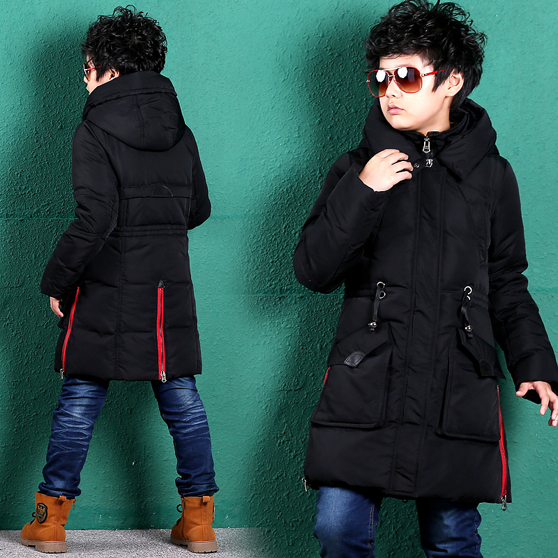 ФОТО Long section of the influx thick white duck  winter coat children autumn and winter hooded down jacket tide boys