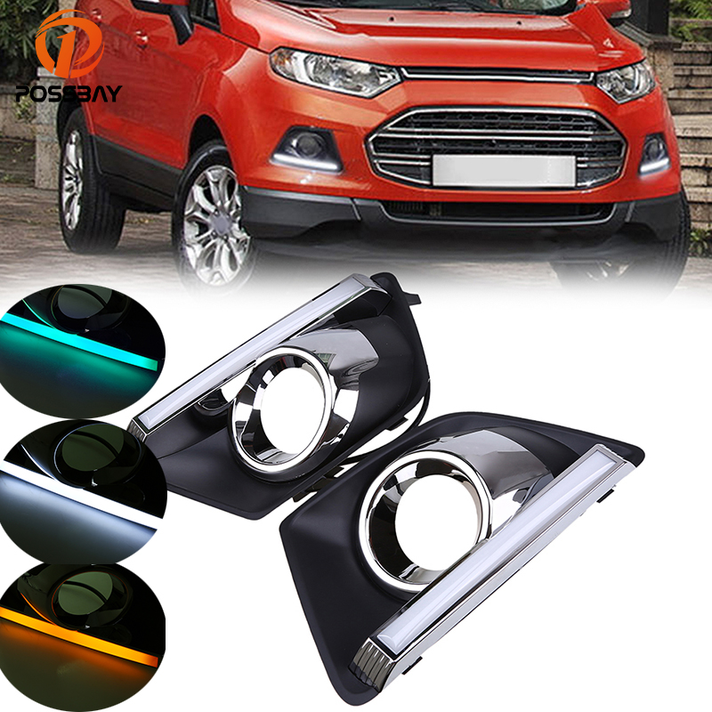 POSSBAY White Yellow Blue Daytime Running Lights for Ford EcoSport MK2 2013-2016 Pre-facelift LED DRL Day Lights Foglight CoverPOSSBAY White Yellow Blue Daytime Running Lights for Ford EcoSport MK2 2013-2016 Pre-facelift LED DRL Day Lights Foglight Cover
