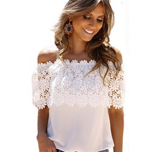 Hot Sale New 2017 Lace Shirt Women Off Shoulder Tops Short Sleeve Sexy Chiffon Blouse Plus Size S-3XL Black White