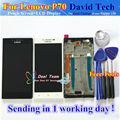 """Alta qualidade da tela de toque digitador + display lcd de substituição para lenovo p70 p70-t p70t cell phone 5.0 """"preto Branco com Moldura"""