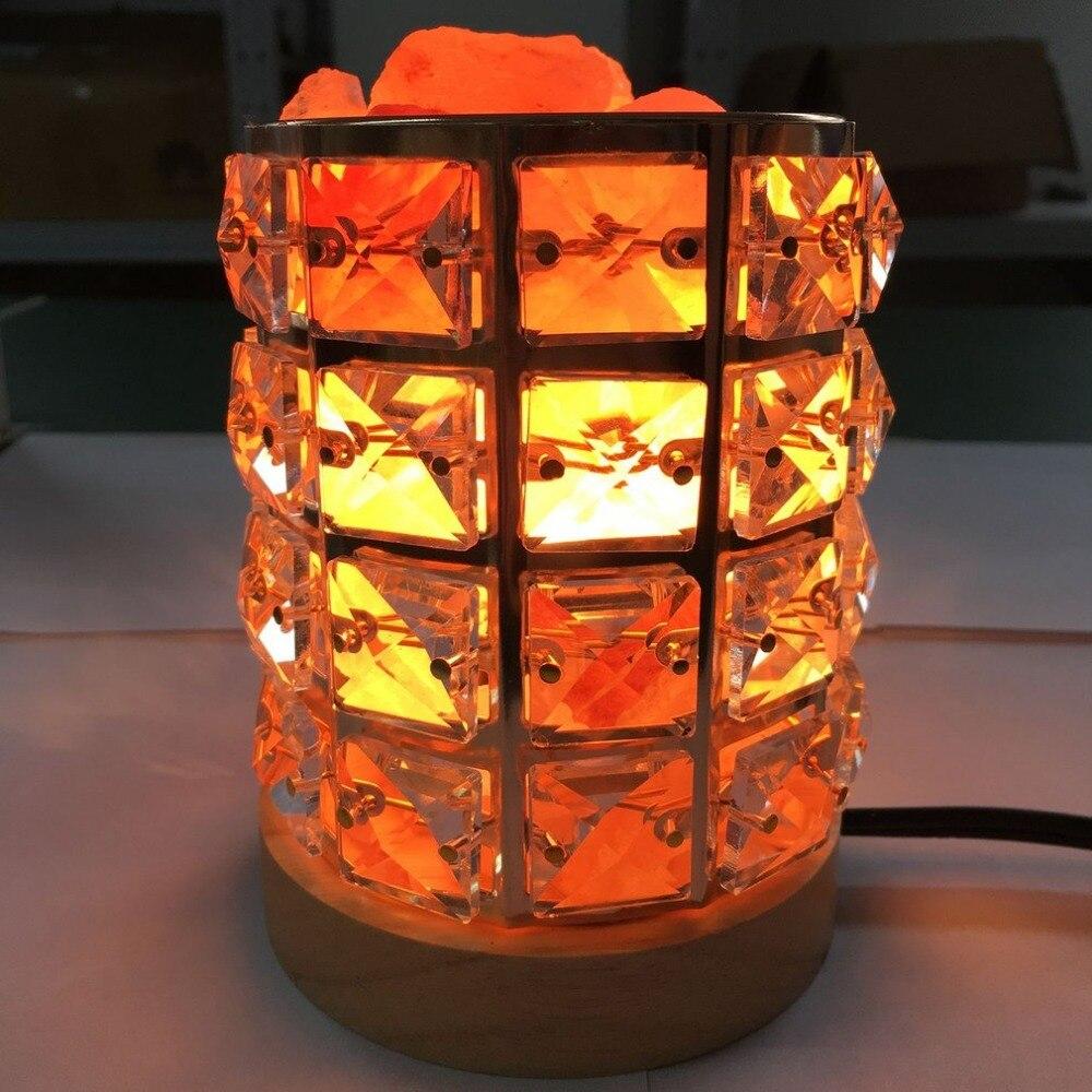 New Healthy Life Himalayan Natural Crystal Salt Light Air Purifying Himalayan Salt Lamp Atmosphere Light With Wooden Base