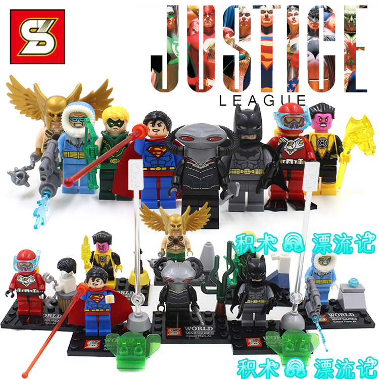 8pcs Green Arrow/Mr. Cold/Black Manta/Robin/Hakwman/Superman/Batman Super Heroes Minifigures DIY Building Blocks Kids Toys Gifts