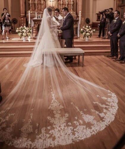 2017 New 4M Cathedral Lace Edge Wedding Bridal Veils voile mariage wedding accessories velos de novia veu de noiva com renda